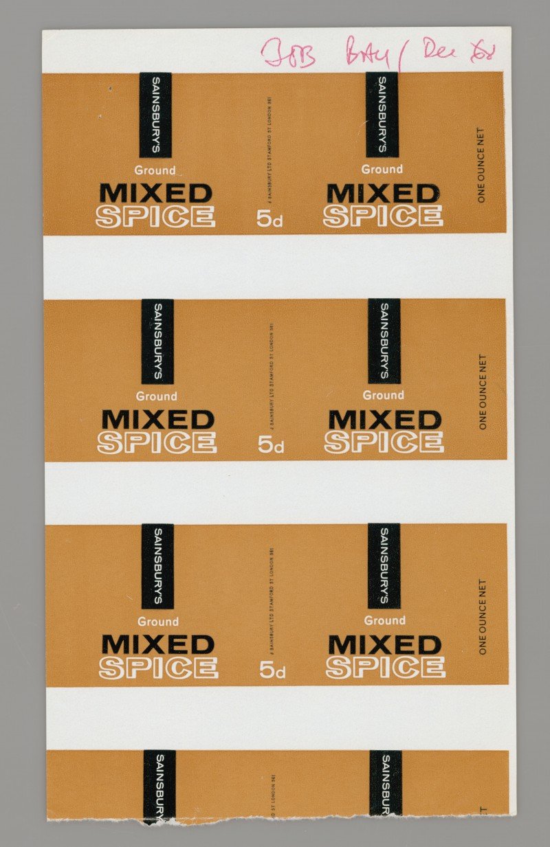 SA/PKC/PRO/1/14/2/2/51/1 - Sainsbury's Ground Mixed Spice proof of labels, 1968