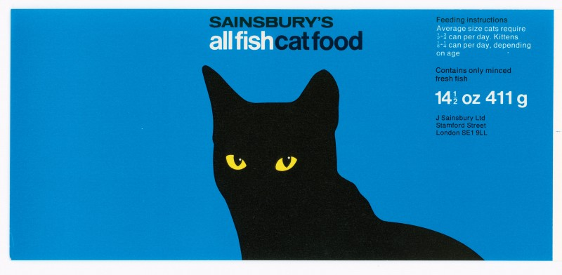 SA/PKC/PRO/1/15/2/8/2 - Sainsbury's All Fish Cat Food 14½oz 411g label, 1976