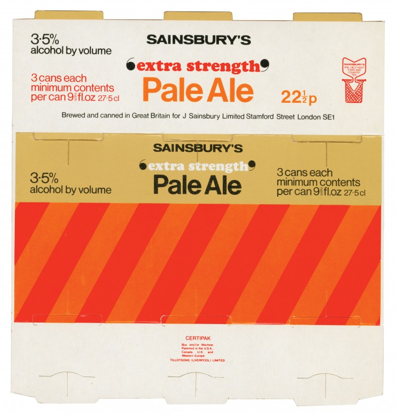 SA/PKC/PRO/1/18/1/11/4 - Sainsbury's 'Extra Strength' Pale Ale three can pack, 1970s