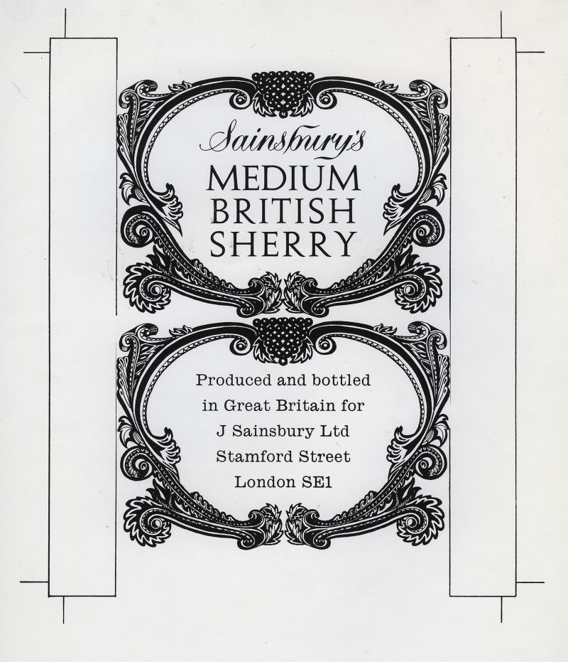 SA/PKC/PRO/1/18/1/31/1 - Sainsbury's Medium British Sherry wine label design