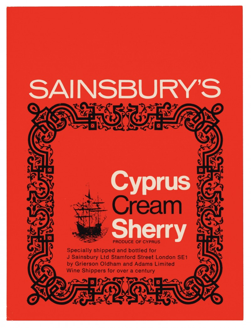 SA/PKC/PRO/1/18/2/2/5/1 - Sainsbury's Cyprus Cream Sherry label, 1967