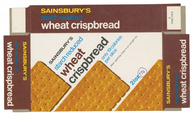 SA/PKC/PRO/1/2/2/2/12/1 - Sainsbury's Starch Reduced Wheat Crispbread packet, 1970s