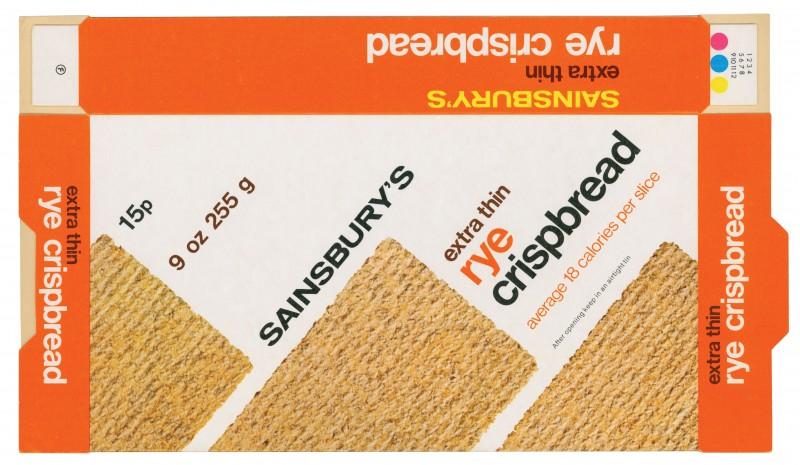 SA/PKC/PRO/1/2/2/2/9/1 - Sainsbury's Extra Thin Rye Crispbread packet, 1976
