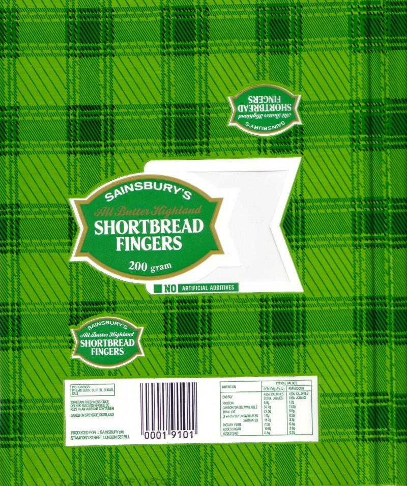 SA/PKC/PRO/1/2/2/3/11 - Sainsbury's All Butter Highland Shortbread Fingers packaging