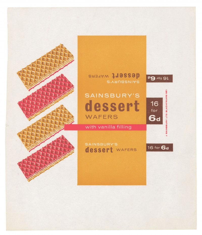 SA/PKC/PRO/1/2/2/4/15/1 - Sainsbury's Dessert Wafers with Vanilla Filling label, 1960s