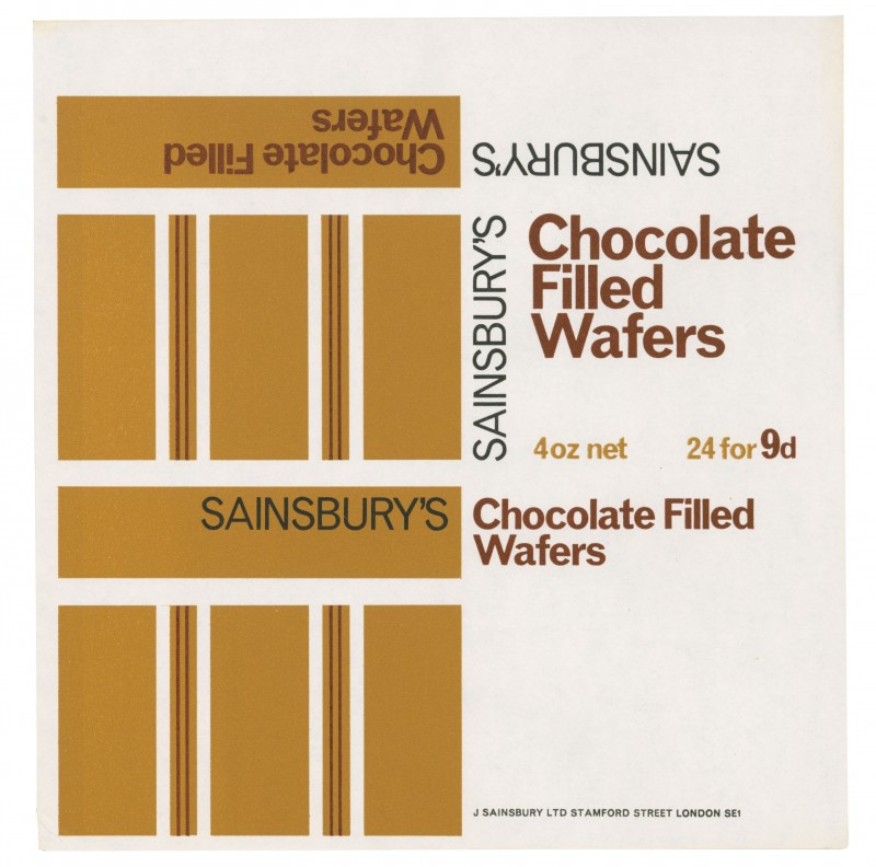 SA/PKC/PRO/1/2/2/4/2/1 - Sainsbury's Chocolate Filled Wafers label, [1966]