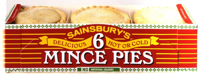 SA/PKC/PRO/1/23/4/1/7 - Photograph (transparency) of Sainsbury's 6 Mince Pies: Delicious Hot or Cold