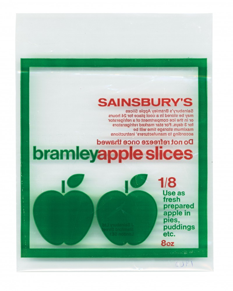 SA/PKC/PRO/1/3/2/3/14/1 - Sainsbury's Bramley Apple Slices packet, 1968