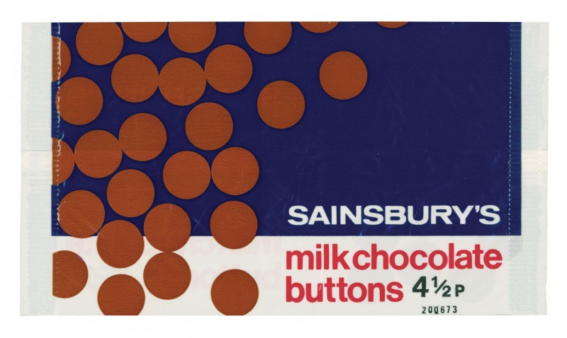 SA/PKC/PRO/1/4/2/1/3/1 - Sainsbury's Milk Chocolate Buttons 4½p wrapper, 1973