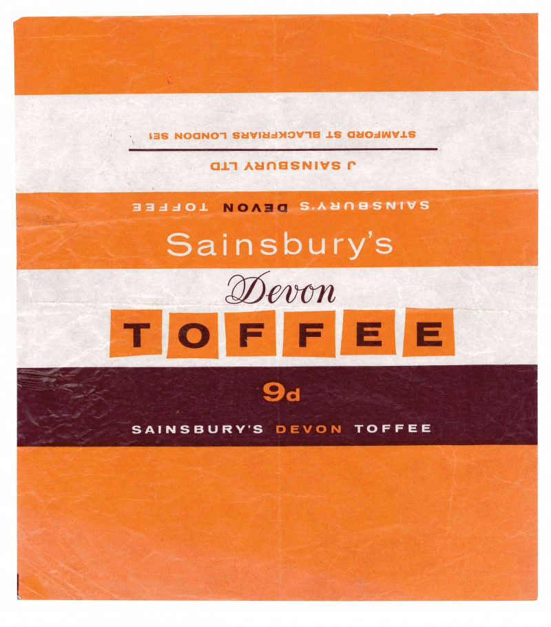 SA/PKC/PRO/1/4/2/2/5/26/1 - Sainsbury's Devon Toffee wrapper, c. 1965