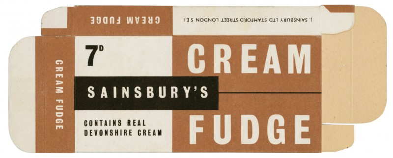 SA/PKC/PRO/1/4/2/2/5/4/1 - Sainsbury's Cream Fudge packet, 1963