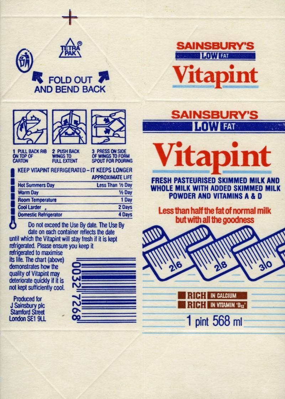 SA/PKC/PRO/1/6/2/5/1/9/1 - Sainsbury's Vitapint carton, 1980s-1990s