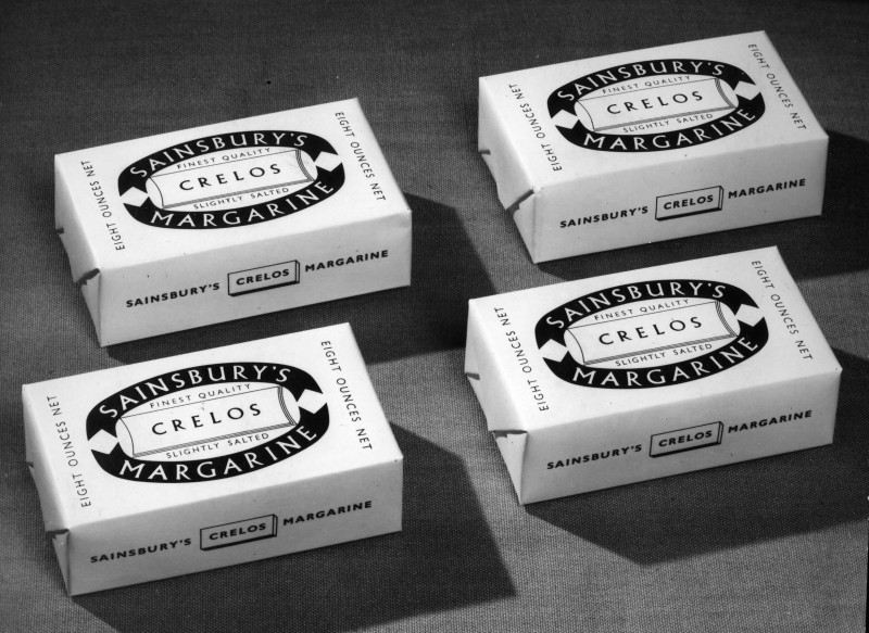 SA/PKC/PRO/1/6/4/a1/2 - Photograph of Sainsbury's Crelos Margarine packaging introduced 1954 by Leonard Beaumont