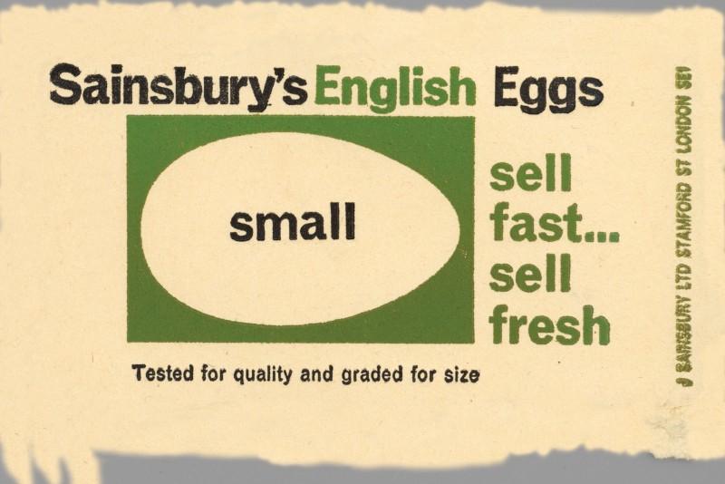 SA/PKC/PRO/1/8/2/1/1 - Sainsbury's English Eggs Small label, 1964