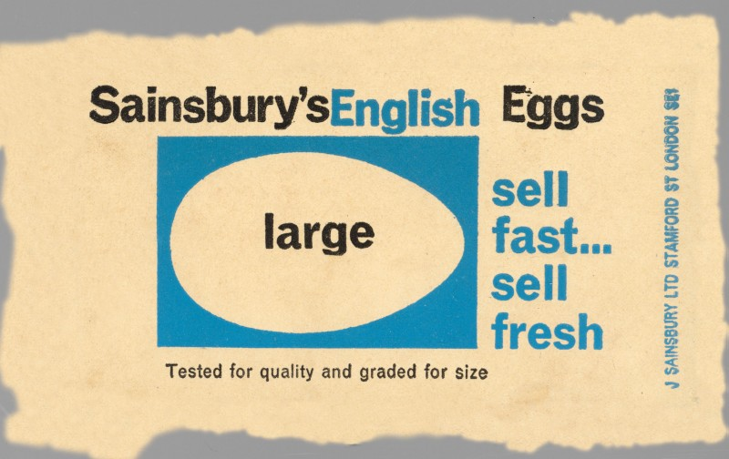 SA/PKC/PRO/1/8/2/1/4 - Sainsbury's English Eggs Large label, 1964