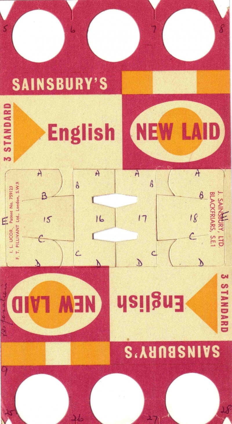 SA/PKC/PRO/1/8/2/3/1 - Sainsbury's English New Laid eggs (3 standard) carton, c. 1956