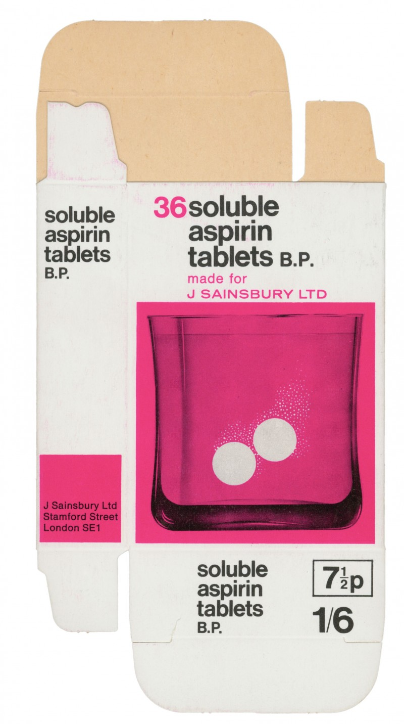 SA/PKC/PRO/2/5/1/2/1 - 36 Soluble Aspirin Tablets B.P. made for J Sainsbury Ltd packet, c. 1971