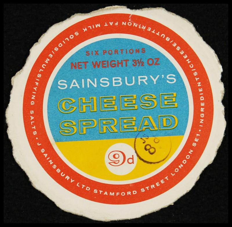 SA/PKC/PRO/1/6/2/1/4/2/1 - Sainsbury's Cheese Spread label, 1960s
