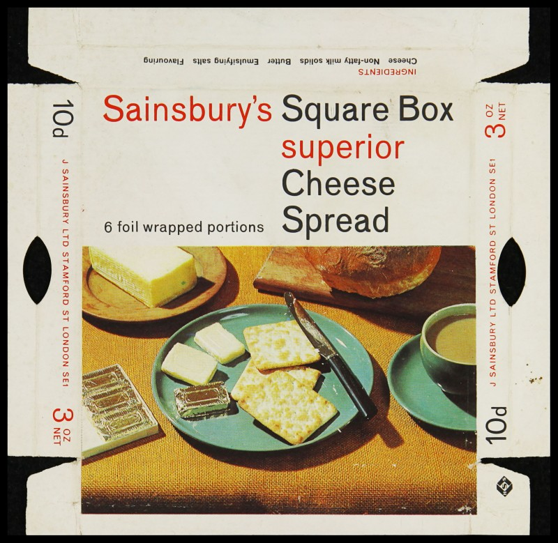 SA/PKC/PRO/1/6/2/1/4/3/1 - Sainsbury's Square Box Superior Cheese Spread label, 1960s