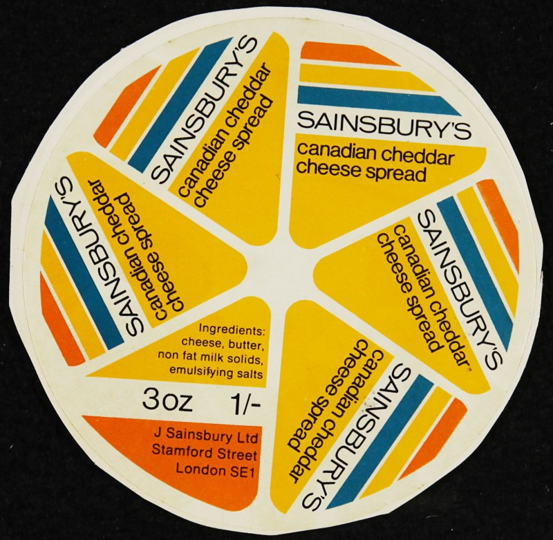 SA/PKC/PRO/1/6/2/1/4/4/1 - Sainsbury's Canadian Cheddar Cheese Spread labels, 1960s