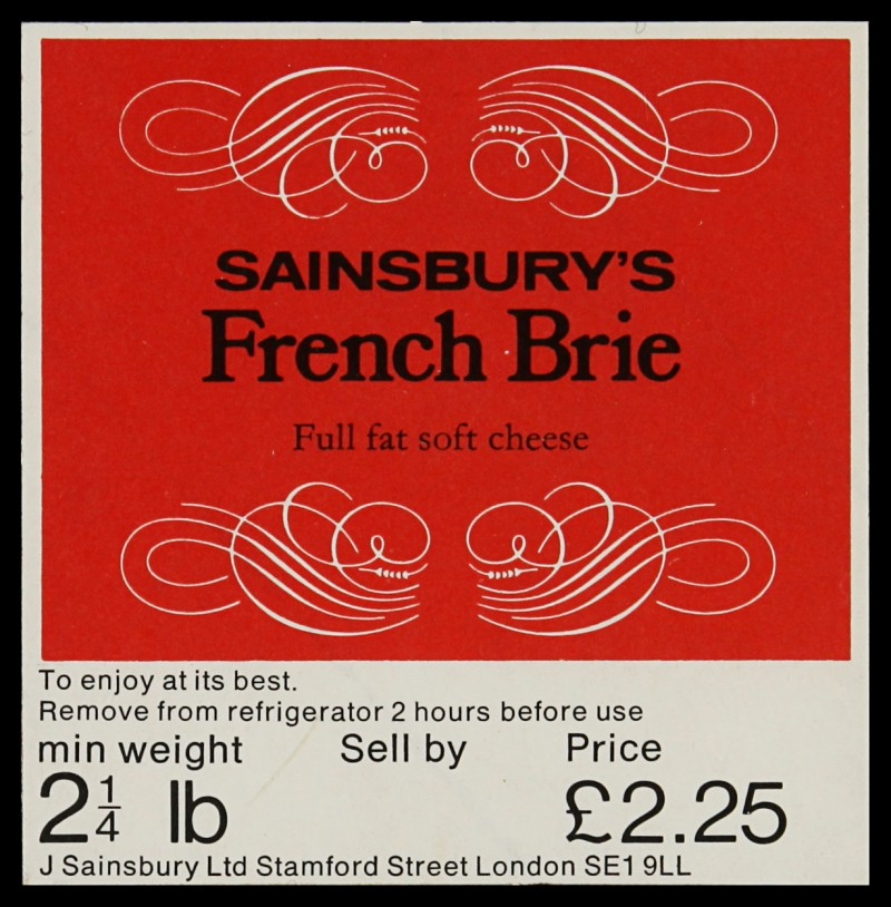 SA/PKC/PRO/1/6/2/2/9 - Sainsbury's French Brie label