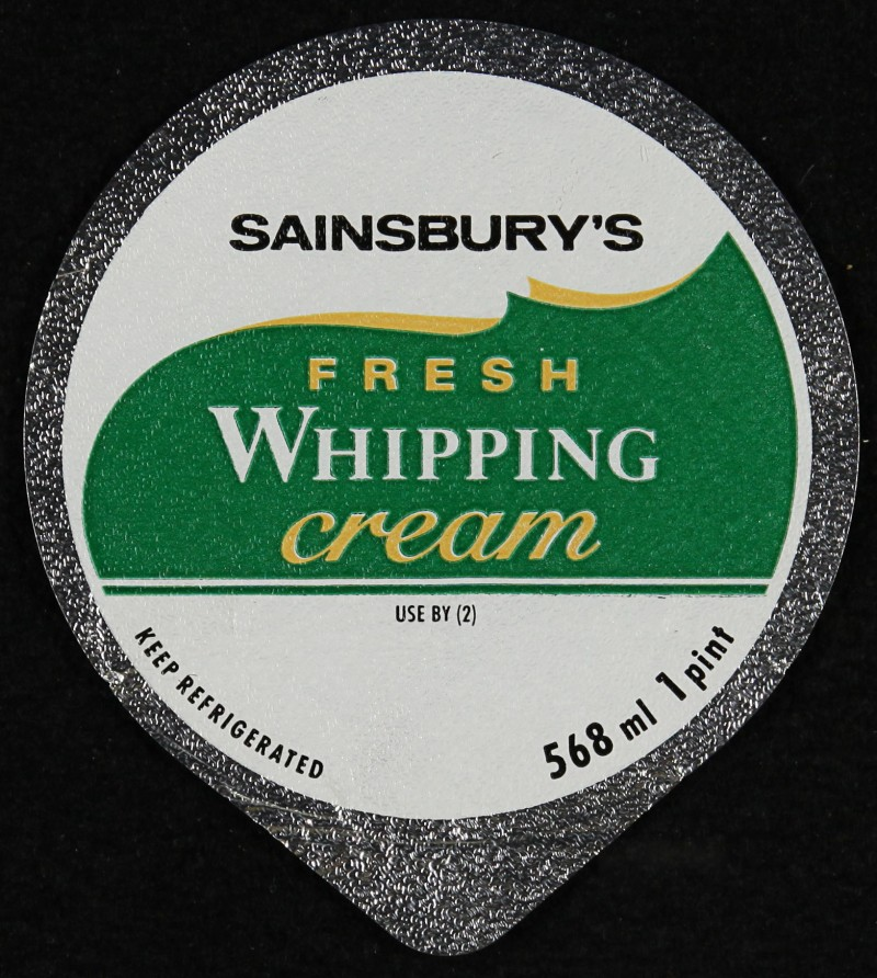 SA/PKC/PRO/1/6/2/3/1 - Sainsbury's Fresh Whipping cream label