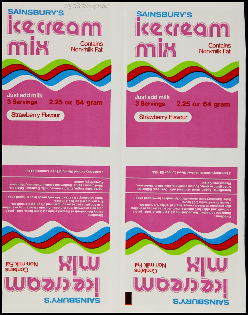 SA/PKC/PRO/1/6/2/4/1/2 - Sainsbury's Ice Cream Mix - Strawberry Flavour packaging