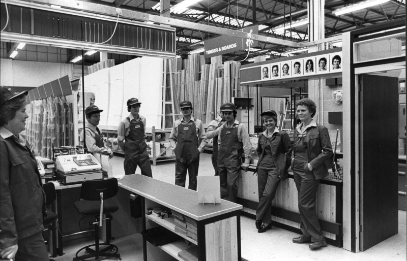 SA/SUB/SGB/A-Z/C/IMA/8/1 - Photograph of Croydon Homebase c.1981 (interior: staff in the Timber and Boards section)