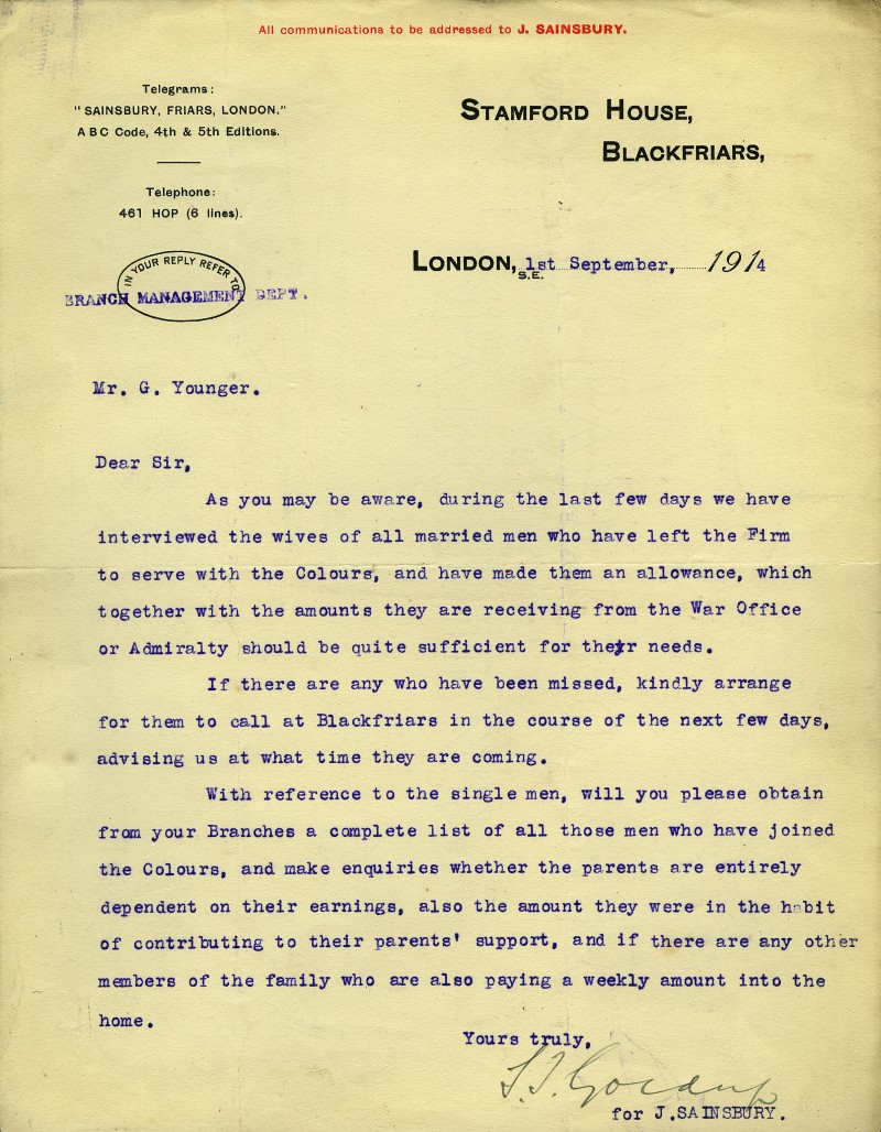 SA/WAR/1/1/2 - Letter to Mr. Younger regarding allowances made to dependents of male staff in the Colours