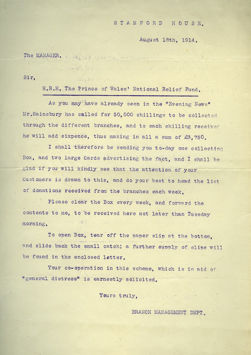 SA/WAR/1/1/4 - Memo to branch managers 'H.R.H. The Prince of Wales' National Relief Fund'