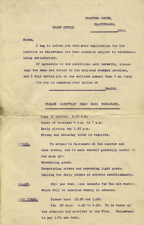 SA/WAR/1/1/8 - Saleswoman application acceptance and duties letter