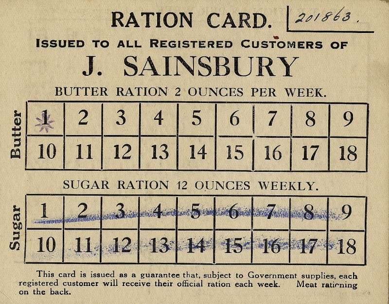 """SA/WAR/1/4/6 - Image of """"Ration Card Issued to All Registered Customer of J.Sainsbury's"""""""