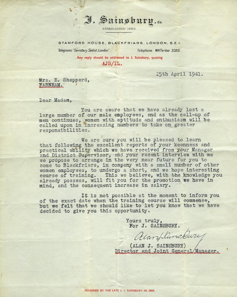 SA/WAR/2/1/z/5 - Invite to training school letter for female colleague