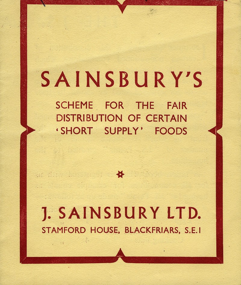"SA/WAR/2/2/1 - ""Sainsbury's scheme for the fair distribution of certain 'short supply' foods"" leaflet"