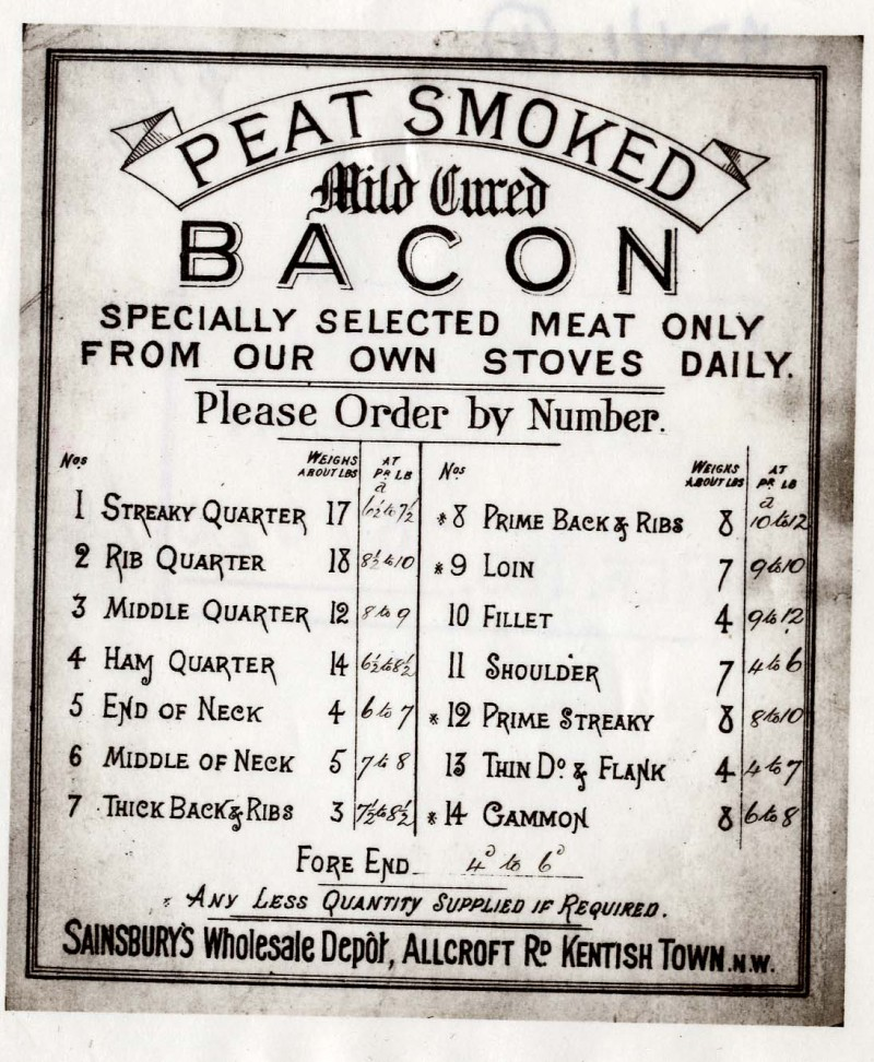 """SA/WHO/1/1/9 - """"Peat Smoked Mild Cure Bacon"""" price list notice"""